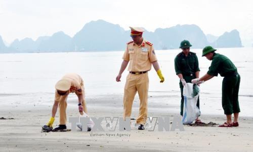 广宁省启动下龙湾海滩清洁活动 hinh anh 1