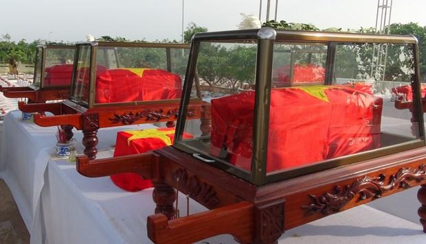 广平省举行在老牺牲越南志愿军烈士遗骸追悼会和安葬仪式 hinh anh 1