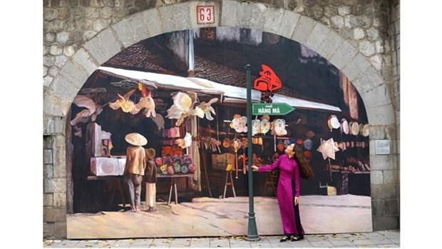 冯兴壁画街——唤醒一段有关河内的难忘回忆 hinh anh 1