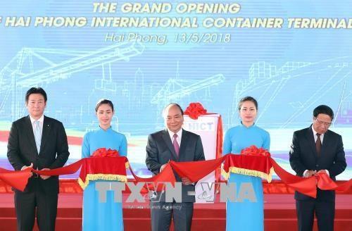 海防市国际集装箱港口迎接首艘集装箱船靠泊 hinh anh 1