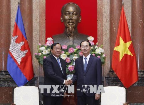 国家主席陈大光会见柬埔寨外交与国家合作部大臣布拉索昆 hinh anh 1
