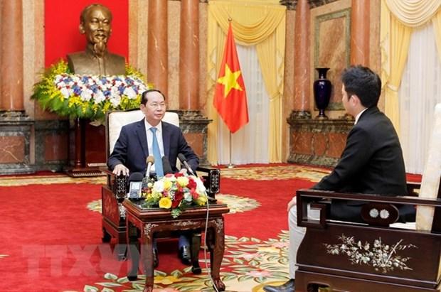 国家主席陈大光:越南支持日本发挥积极作用 为地区和平稳定与发展做出贡献 hinh anh 1