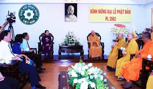 佛诞大典之际胡志明市领导走访当地若干佛教团体 hinh anh 1