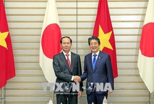 越南国家主席陈大光与日本首相安倍晋三举行会谈 hinh anh 1