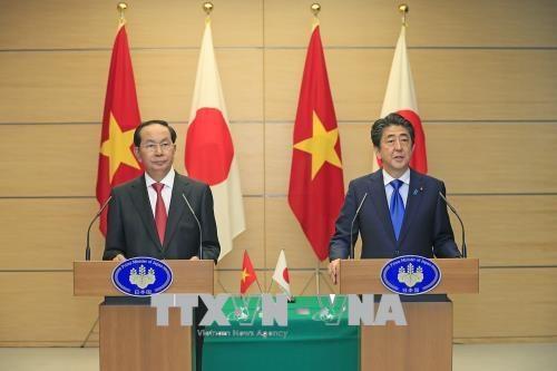 陈大光与日本首相安倍晋三共同举行联合新闻发布会 hinh anh 1