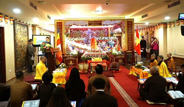 旅居俄罗斯越南佛教僧众举行佛历2562年佛诞大典 hinh anh 1