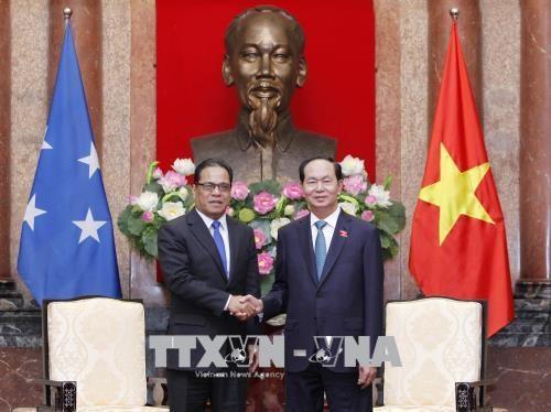 越南国家主席陈大光会见密克罗尼西亚联邦国会议长西米纳 hinh anh 1
