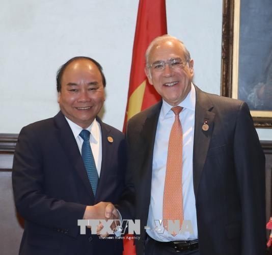 政府总理阮春福会见加拿大前总理让·克雷蒂安和经合组织秘书长 hinh anh 1