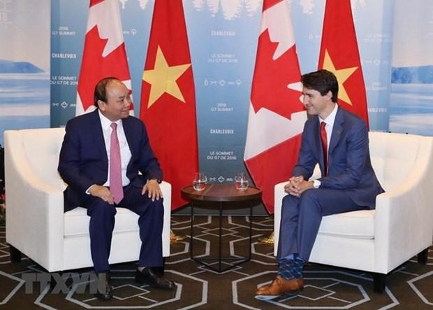 加拿大总理贾斯廷感谢越南政府总理阮春福赴加出席G7峰会扩大会议 hinh anh 1