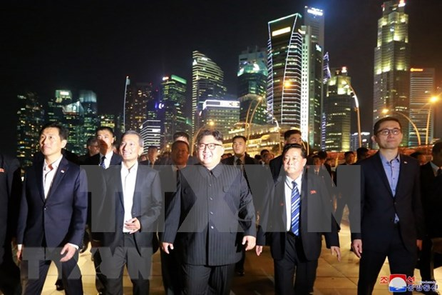 朝鲜领导人希望学习新加坡经济社会发展的经验 hinh anh 1