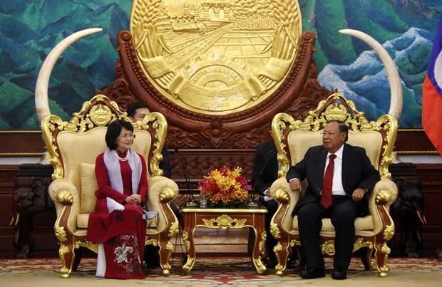 国家副主席邓氏玉盛对老挝进行正式访问 hinh anh 2