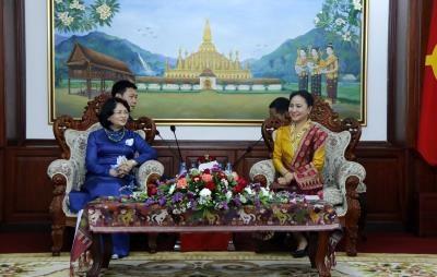 越南国家副主席邓氏玉盛会见老挝国会主席巴妮·雅陶都 hinh anh 2