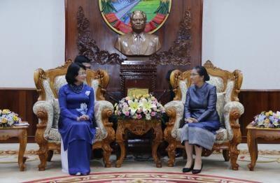 越南国家副主席邓氏玉盛会见老挝国会主席巴妮·雅陶都 hinh anh 1