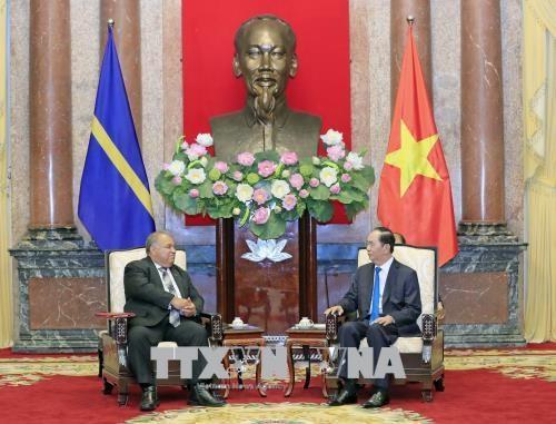 越南国家主席陈大光会见瑙鲁共和国总统 hinh anh 1