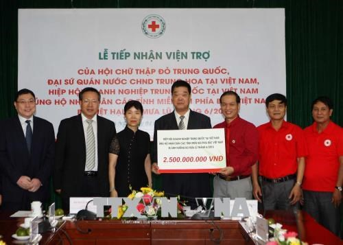 中国红十字会向越南北部山区洪水灾民提供资金援助 hinh anh 1