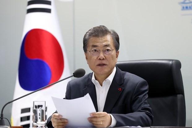 韩国大中型企业代表将陪同文在寅访问新加坡 hinh anh 1