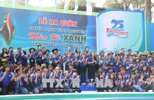 胡志明市6万多名大学生参加2018年蓝色夏天志愿服务战役出征仪式 hinh anh 1