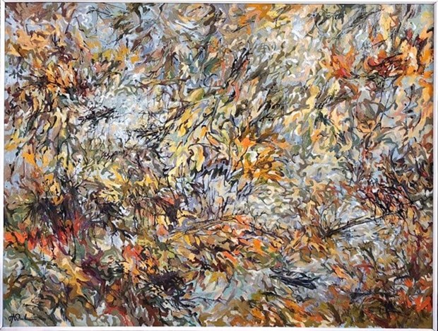 越南画家的作品《竹的调子》在意大利首都罗马展出 hinh anh 1