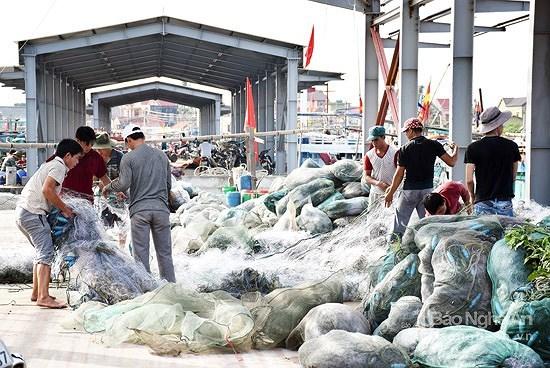 台风过后乂安省渔民准备渔具出海捕捞 hinh anh 1