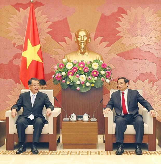 越日议员友好小组主席范明正会见日本湄公河议员联盟主席盐谷立 hinh anh 2