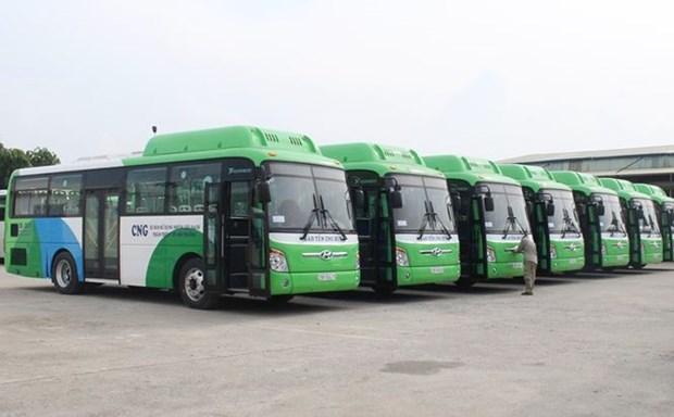 越南首都河内首批天然气驱动的公共汽车8月1日开始投入试运行 hinh anh 1