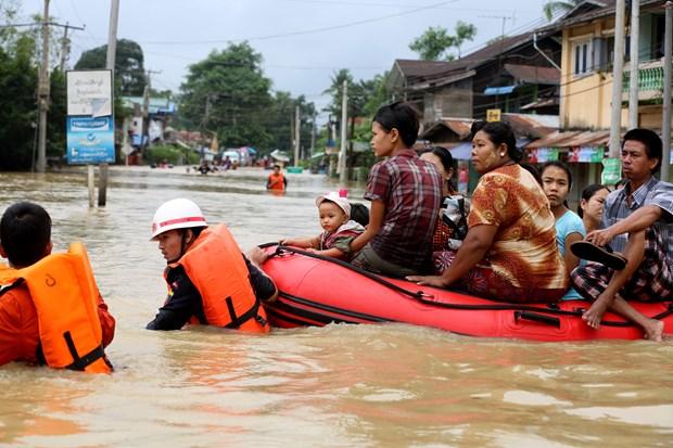 缅甸遭严重洪灾 泰国泥石流造成8人死亡 hinh anh 1