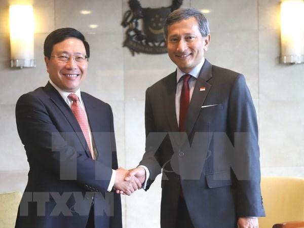 越南与新加坡同意充分和有效展开双方高层领导所达成的协议 hinh anh 1