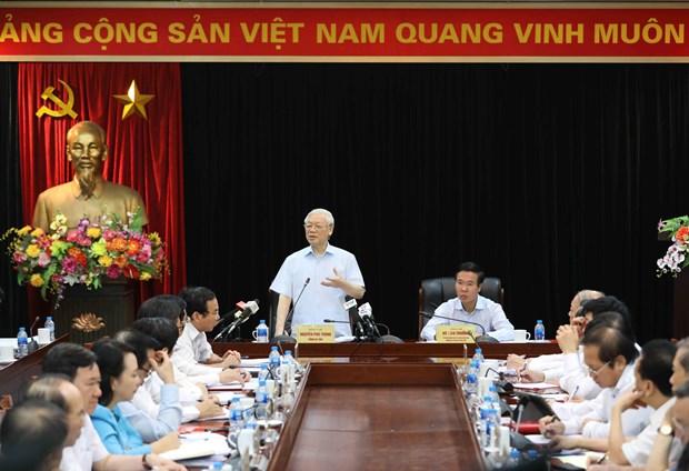 阮富仲总书记与越共中央宣教部举行工作会议 hinh anh 1