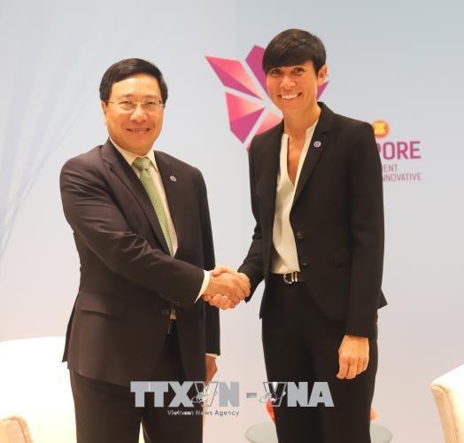 第51届东盟外长会议: 范平明分别会见柬埔寨和挪威外交大臣 hinh anh 2