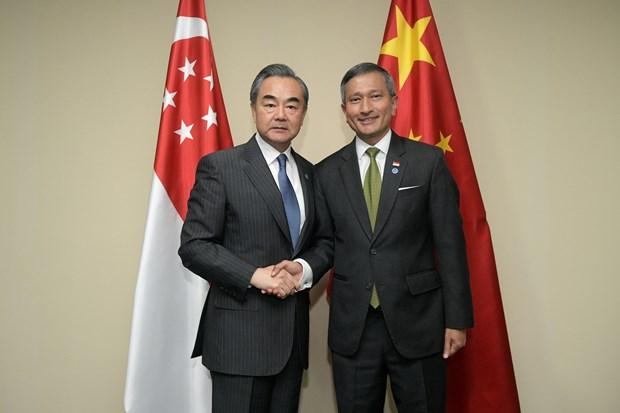 中国和新加坡坚持多边主义和自由贸易 hinh anh 1
