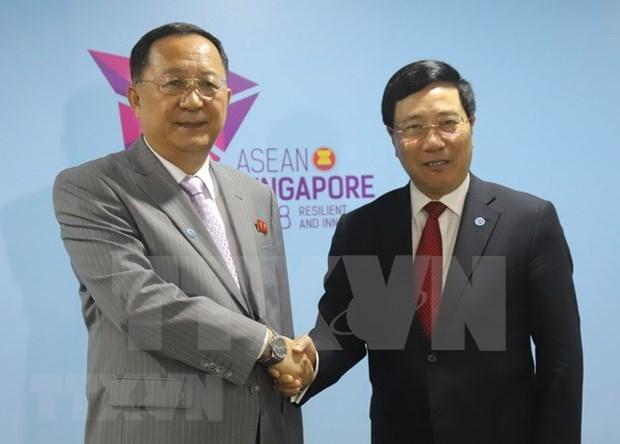 政府副总理兼外交部长范平明会见朝鲜外交部长李勇浩 hinh anh 1