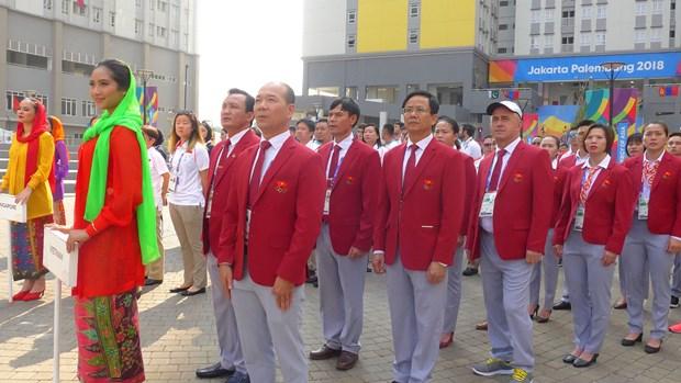ASIAD 2018:越南体育代表团旗帜升旗仪式 hinh anh 1