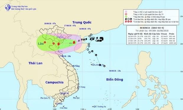 8月16日夜第四号台风直接影响广宁至乂安各省 hinh anh 1