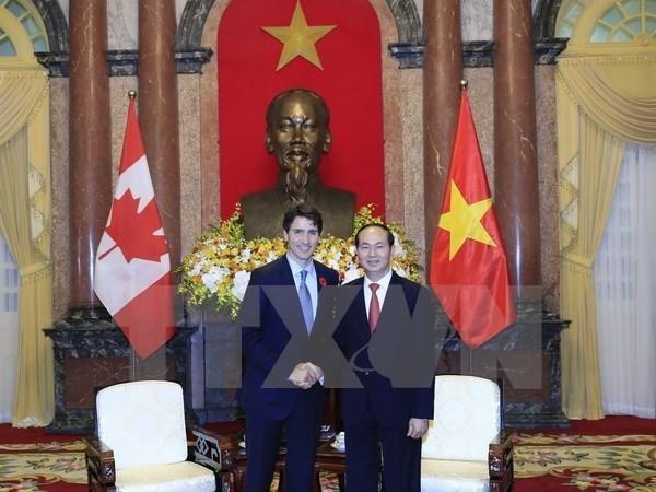 越南国家领导人就越南与加拿大建交45周年向加拿大领导致贺电 hinh anh 1