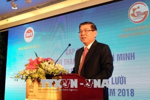 胡志明市领导会见参加2018年越南革新创新网络连接活动的代表 hinh anh 1