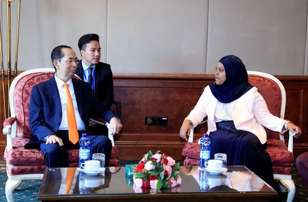 越南国家主席陈大光会见埃塞俄比亚参议院议长克里娅·易卜拉欣 hinh anh 1