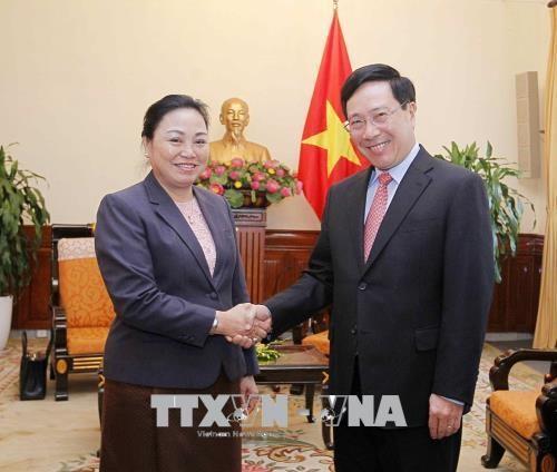 越南政府副总理兼外交部长范平明会见老挝外交副部长 hinh anh 1