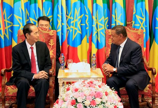 越南国家主席陈大光和埃塞俄比亚总统穆拉图•特肖梅举行会谈 hinh anh 2