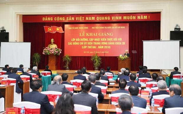 越共第十二届中央委员会委员更新知识班(第二期)开班 hinh anh 1