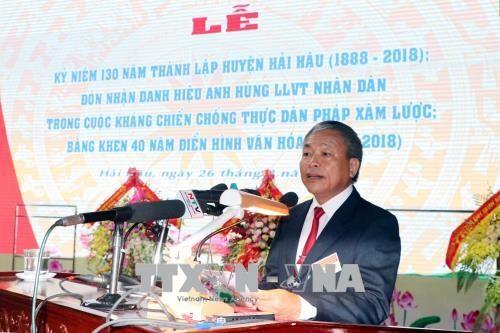 越南国家副主席邓氏玉盛:南定省海后县在新时期要发扬革命传统 hinh anh 1