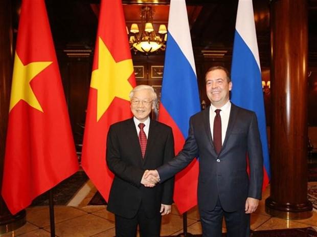 越共中央总书记阮富仲会见俄罗斯总理梅德韦杰夫 hinh anh 1