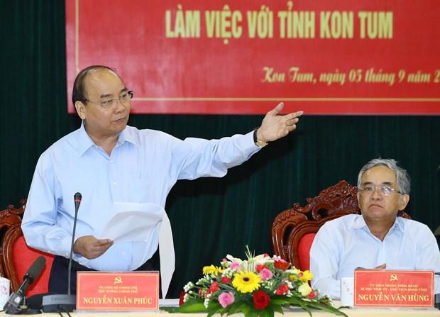 阮春福总理与昆嵩省领导举行工作会议 hinh anh 1