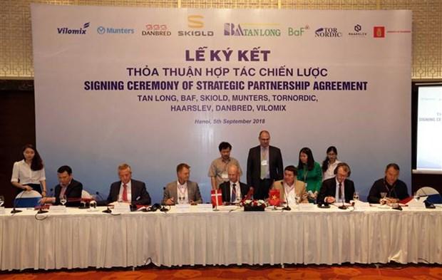 越南新龙集团与丹麦六家公司签署大米加工和畜牧养殖领域合作协议 hinh anh 2