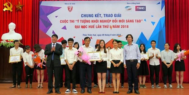 越南顺化大学创新创业倡议大赛颁奖仪式举行 一等奖拿1500万越盾 hinh anh 1
