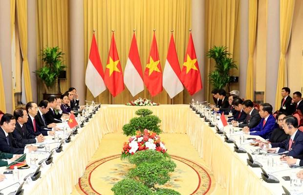 越南国家主席陈大光欢迎印尼总统到访 双方举行会谈 hinh anh 2
