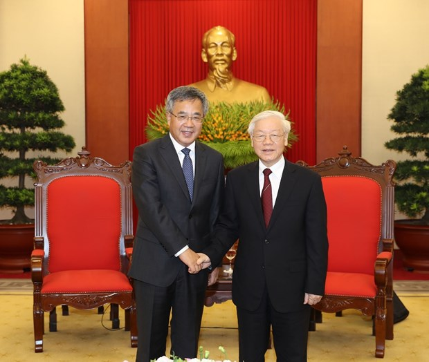 WEF ASEAN 2018:越共中央总书记阮富仲会见中国国务院副总理胡春华 hinh anh 1