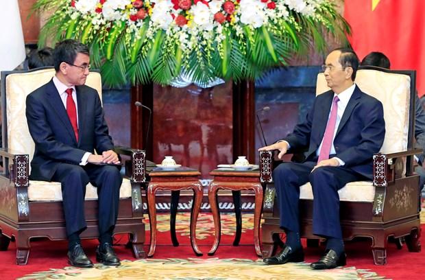 越南国家主席陈大光会见日本外务大臣河野太郎 hinh anh 1