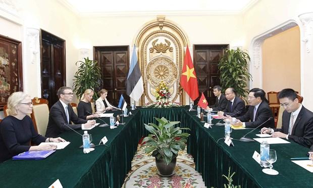 越南政府副总理兼外长范平明与爱沙尼亚外长斯旺·米克塞尔举行会谈 hinh anh 2