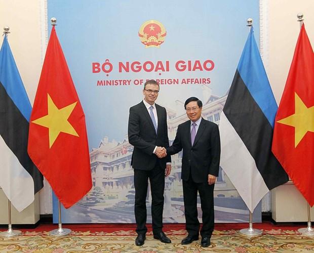 越南政府副总理兼外长范平明与爱沙尼亚外长斯旺·米克塞尔举行会谈 hinh anh 1