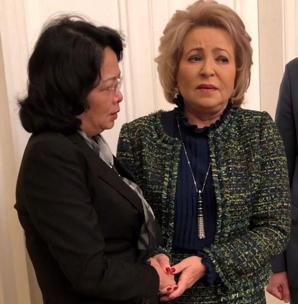 越南国家副主席邓氏玉盛会见俄罗斯联邦委员会主席 hinh anh 1
